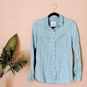 SO Chambray Long Sleeve Perfect Shirt Sz M